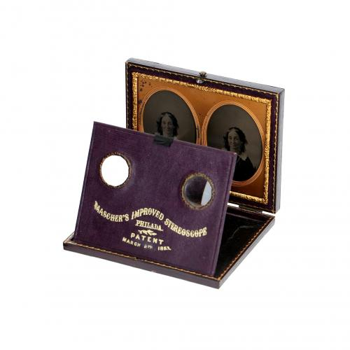 """Stereoscopic daguerreotype of a lady"""" Mascher Stereoscope's Improved"""""""