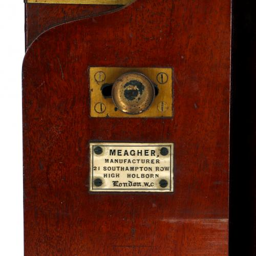 P. Meagher stereo camera all wet London C. 1865 Mahogany Brass Door Plate